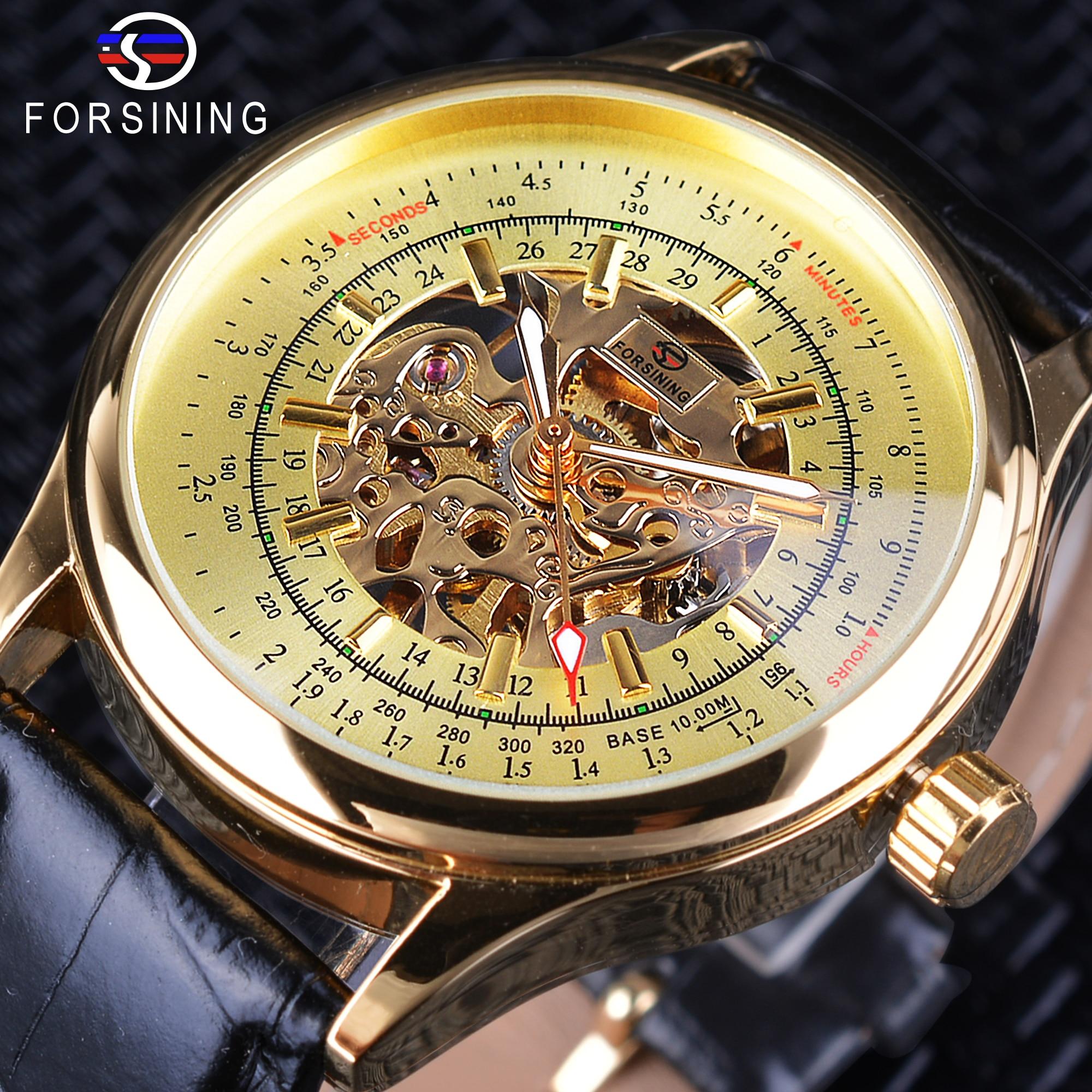 Forsinong Luxury Golden Dial Luminous Hands Men Watches Top Brand Luxury Mechanical Business Skeleton Creative Watch Male Clock