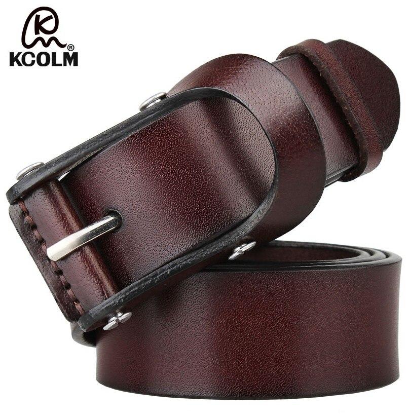 Fashion Men s Belt Top Natural Genuine Leather Sturdy Buckle Men Vintage Belt Suitable for Jeans