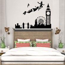ילדים של חדר לונדון קריקטורה אגדה ויניל קיר מדבקות ילדי בני גן חדר שינה עיצוב הבית מדבקות ER39