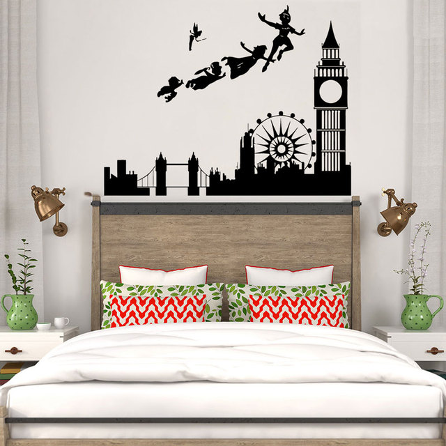 Childrens room London cartoon fairy tale vinyl wall stickers children boys kindergarten bedroom home decoration stickers ER39