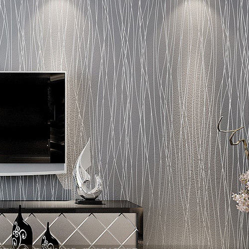 Striped wallpaper glitter solid wall paper non woven for Grey silver wallpaper living room