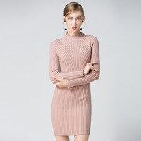 2017 Women Autumn Spring Dresses Robe Sexy Pink Mini Sheath Slim Bodycon Dress Long Sleeve Elegant