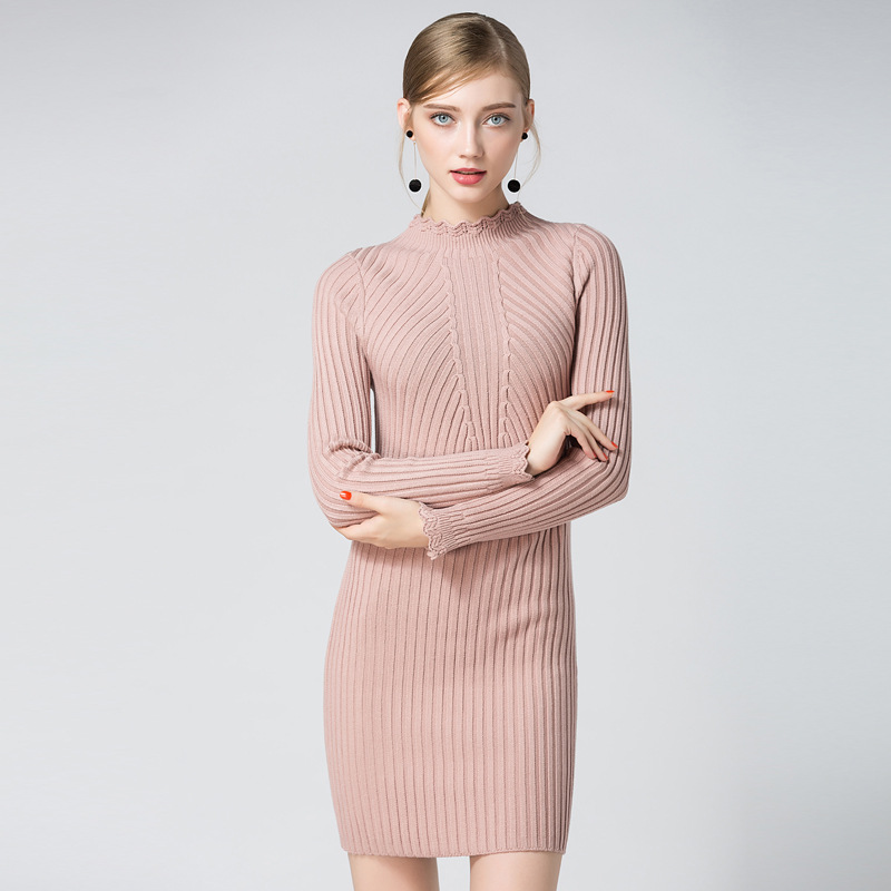2017 Women Autumn Spring Dresses Robe Sexy Pink Mini Sheath Slim Bodycon Dress Long Sleeve Elegant Knitted Sweater Hip Vestidos