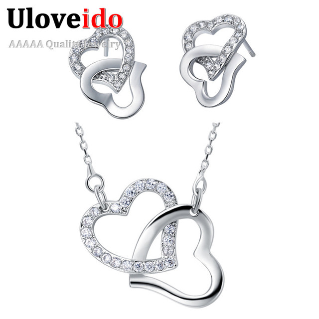 Fashion Wedding Accessories Heart in Heart Necklace Gifts for Women White Jewelry Set Crystal Earrings Pendant Uloveido T287