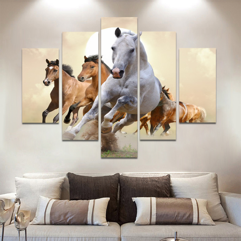 Unframed Canvas Animal Painting Run Three Horses Meadow Picture Prints Wall Picture For Living Room Wall Art Decoration