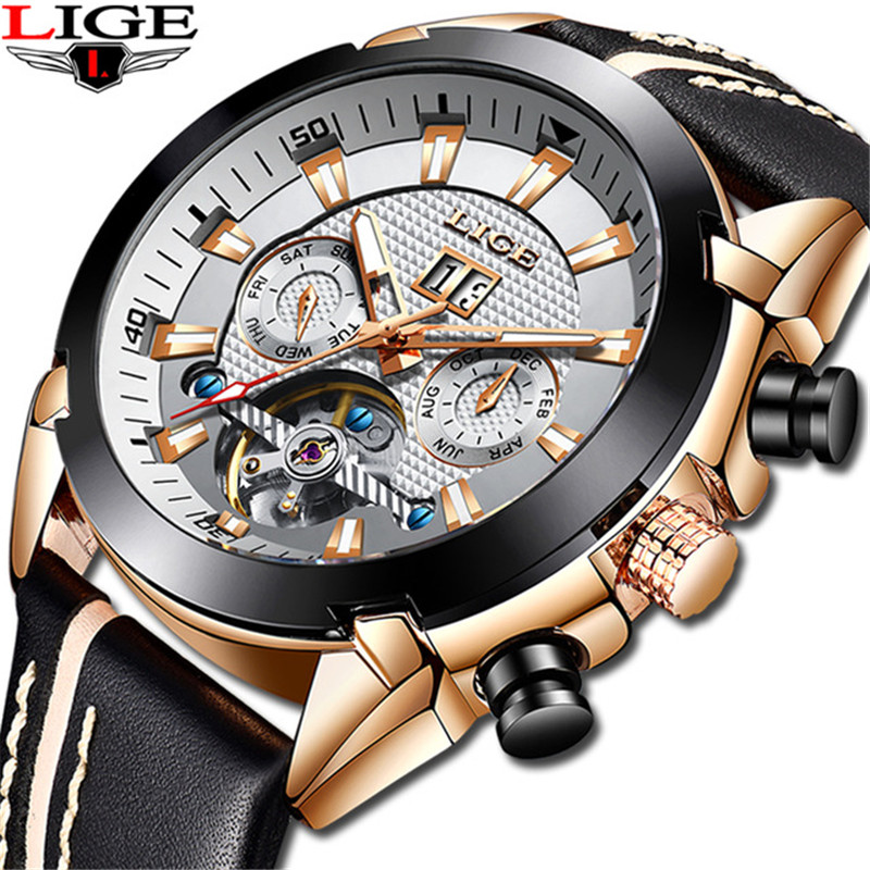 LIGE Mens Watches 2019 New Top Brand Luxury Automatic Clock Leather Waterproof Military Sports Fashion Watch Relogio Masculino LIGE Mens Watches 2019 New Top Brand Luxury Automatic Clock Leather Waterproof Military Sports Fashion Watch Relogio Masculino