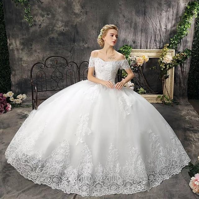 Schone Ballkleid Weg Vom Schulter Kristall Perlen Brautkleider