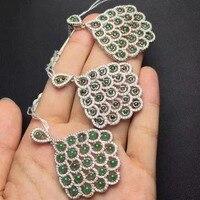 Özel fiyat gerçek 925 ayar gümüş Markiz şekil 4*8/pc doğal kadınlar için Çin yeşil yeşim kolye kolye kolye