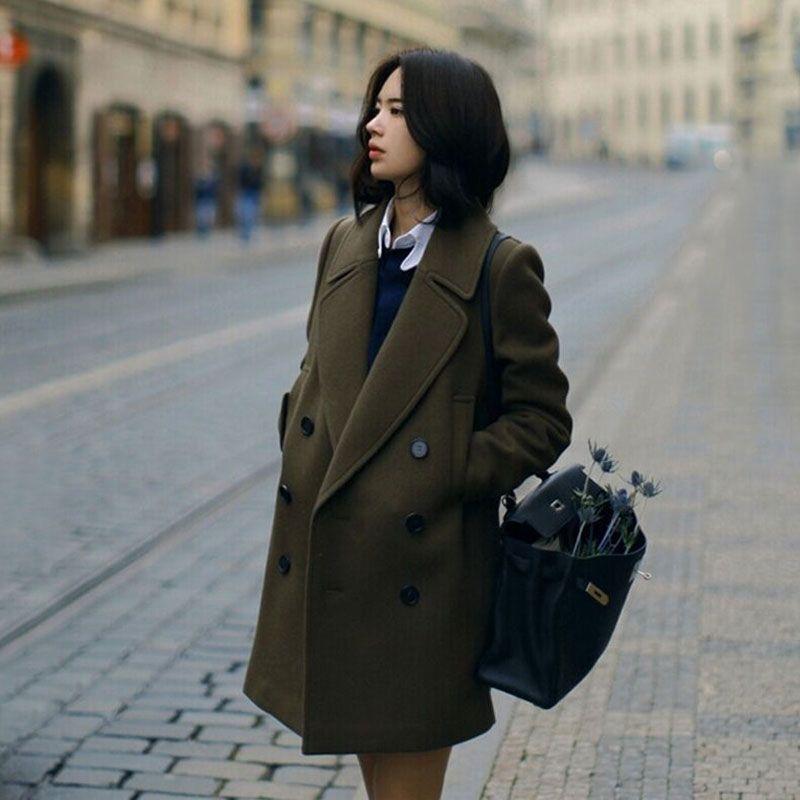 Chaud Manteaux De Armygreen Automne black Mélanges Mode Coréenne Lâche Longues Style Vêtements Vente Nouveau Tissu Laine H468 Manteau Femmes Manches À Street q4ApPgw