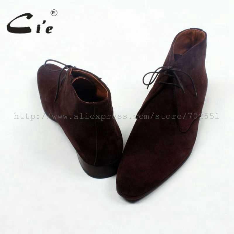 Cie круглый plain toe кофе замши на шнуровке ботильоны телячьей кожи Мужская заказ кожаные ботинки 100% натуральной телячьей кожаные ботинки A83