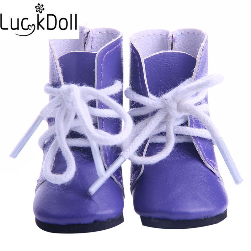 LUCKDOLL Solid Color Boots With Straps For Fit 14.5 Inch American  Doll Wellie Wishers Accessories Girls Toys,Generation,Gift