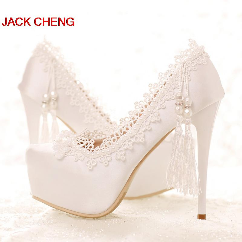 Spring and Summer White Lace Formal Shoes Bridal Dress Shoes Sweetness High Heels Wedding Party Satin Shose Party Prom Pumps