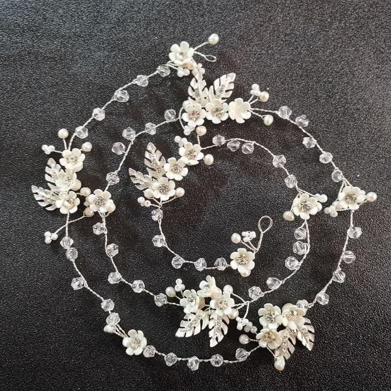 Silver Clear Rhinestone Freshwater Pearl Flower Prom Bridal Hair Clip
