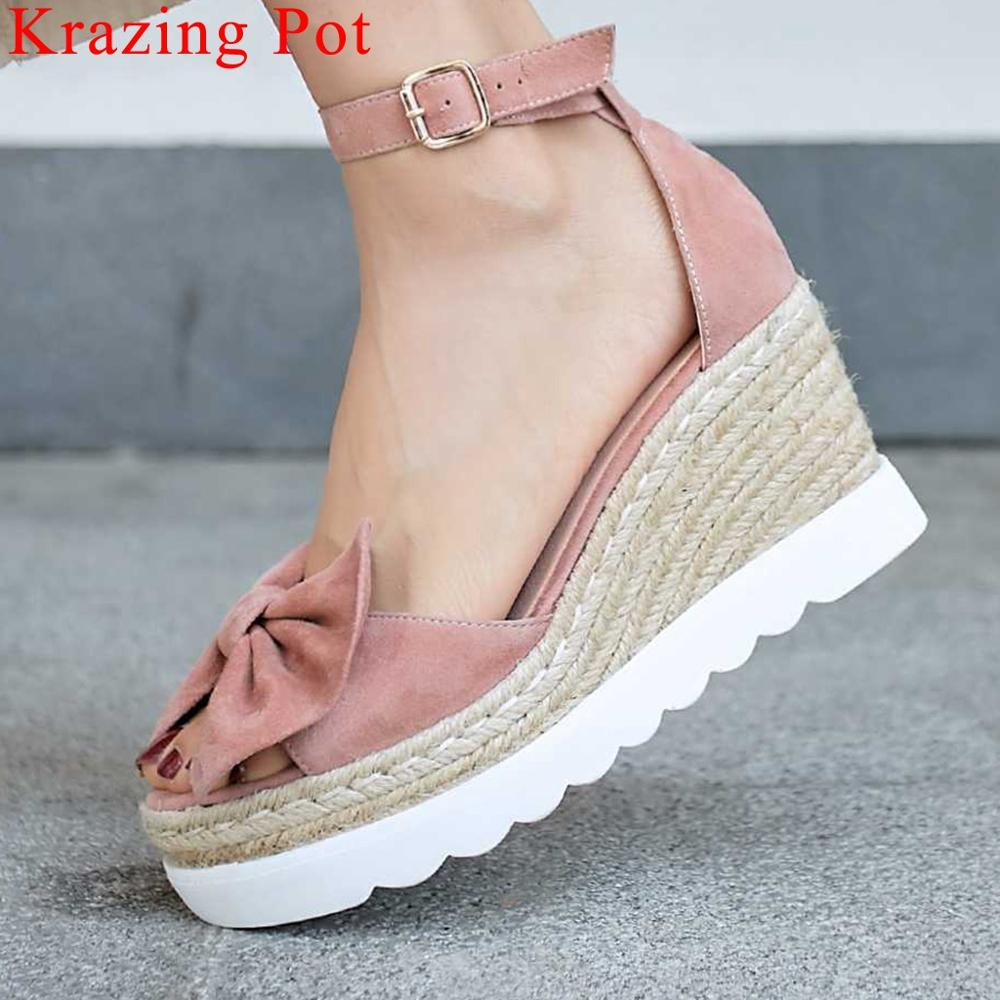 Krazing Pot European princess style butterfly-knot decoration buckle strap peep toe straw decoration kid suede sweet shoes L12Krazing Pot European princess style butterfly-knot decoration buckle strap peep toe straw decoration kid suede sweet shoes L12