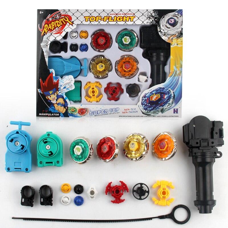 Con el paquete Original Beyblade Metal Fusion 4D lanzador Beyblade Spinning Top niños Juego juguetes niños regalo de Navidad