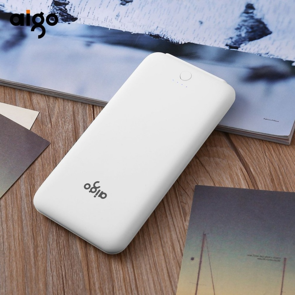 AIGO T10000 Power Bank 10000Mah Powerbank Dual USB Portable Charger External <font><b>Battery</b></font> Pack Super Thin Power Supply for <font><b>cellphone</b></font>