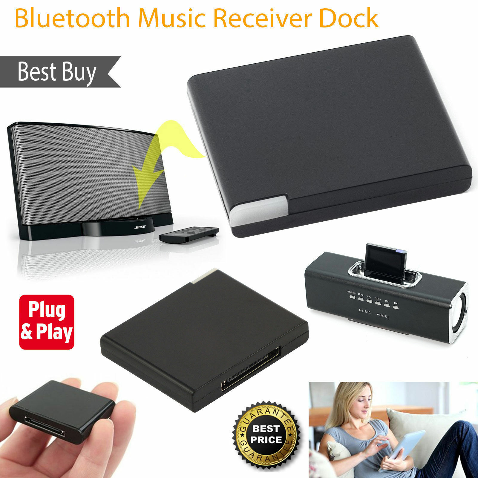 30 Pin Bluetooth 2.1 A2DP Music Audio Receiver Stero Adapter For Bose Sounddock