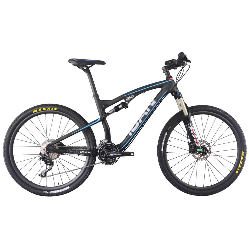 ICAN 27.5er Carbon Double Suspension Bicycle 650b Mountain Bike with shima deore groupset size 16/18/20inch available