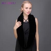 RUIHU Winter Natural Mink Fur Ring Women one piece scarf luxury brand black brown Warm Thick Female foulard fur collar RHM301
