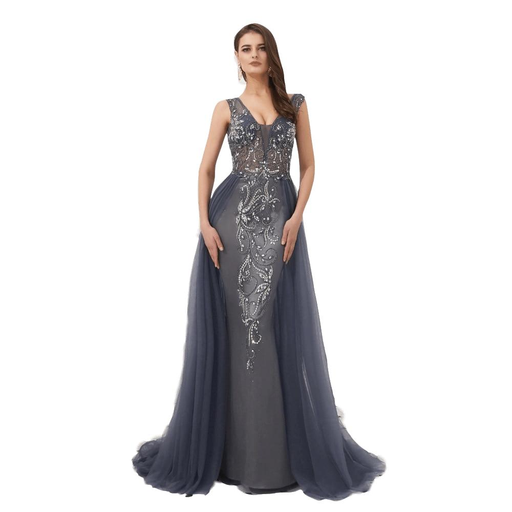 Elegent Evening Dress 2019 Sexy Backless Vestido De Festa Formal Dress Beading Evening Gown Prom Dresses Robe De Soiree 46321