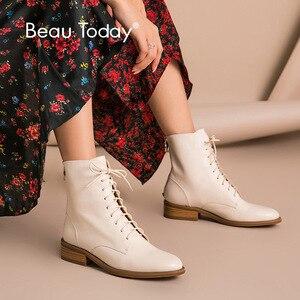 Image 1 - Beautoday Mắt Cá Chân Giày Nữ Da Bò Chính Hãng Da Mũi Tròn Cột Dây Dây Kéo Sau Mùa Đông Nữ Thời Trang Handmade 02202