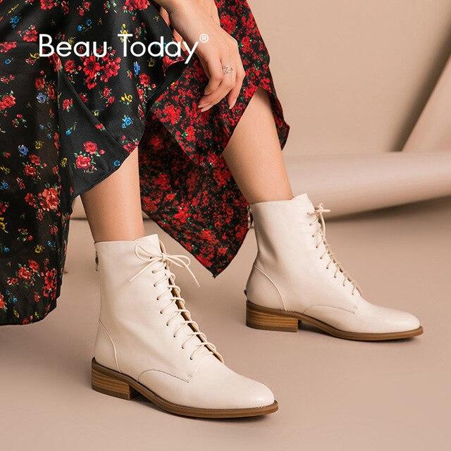 Beautoday Mắt Cá Chân Giày Nữ Da Bò Chính Hãng Da Mũi Tròn Cột Dây Dây Kéo Sau Mùa Đông Nữ Thời Trang Handmade 02202