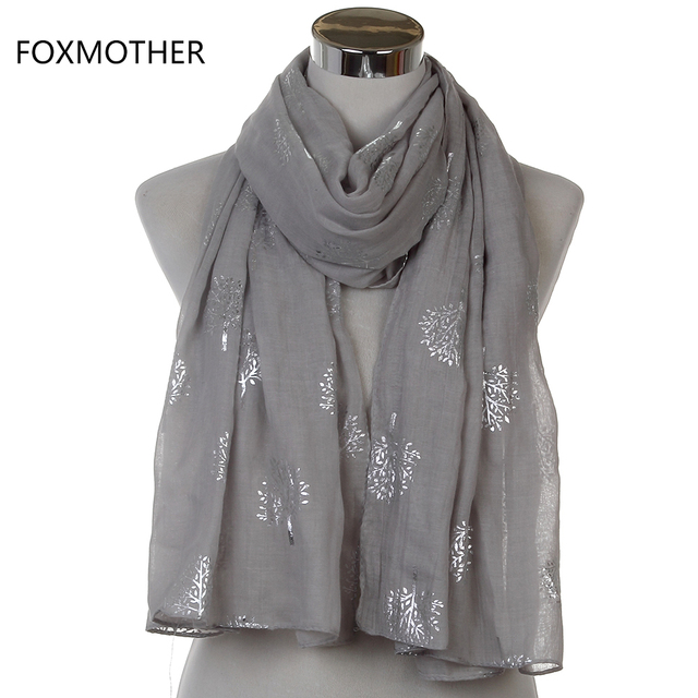 Dropshipping 2019 New Spring Summer Fashion Ladies White Navy Bronzing Silver Metallic Tree Glitter Scarf Scarves Gifts 3