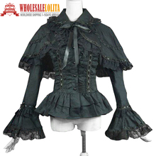 Victorian Edwardian Gothic Black Cotton Blouse Top Shirt Cape Steampunk Penny Dreadful Clothing Theatrical Costume