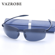 Vazrobe (10g) TR90 Rimless Sunglasses for Men foldable Men's Driving Sun Glasses Anti Glare UV400 Goggles 2017 case free quality