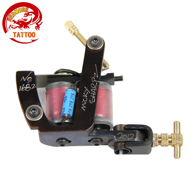 Wire Cutting 10 Wrap Coils Tattoo Machine For Liner And Shader Red Color Iron Tattoo Supplies MS-TM-6671 professional welding wire feeder 24v wire feed assembly 0 8 1 0mm 03 04 detault wire feeder mig mag welding machine ssj 18