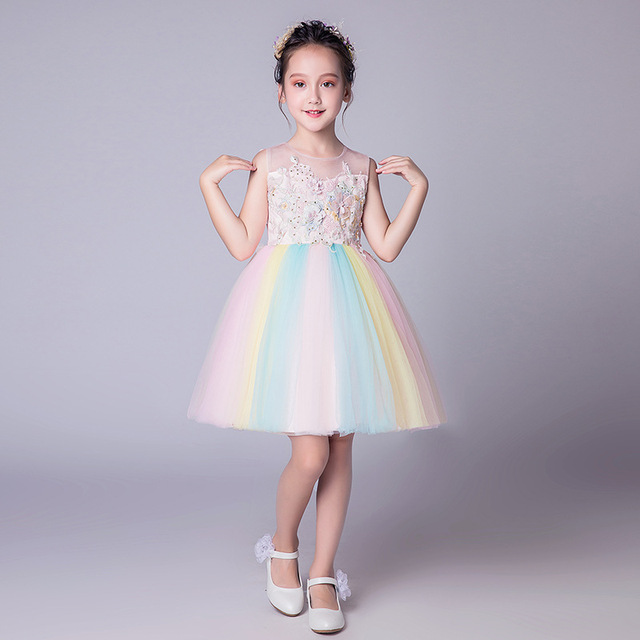 50205e257b7aa US $27.29 45% OFF|Rainbow Girls Dress Kids Summer Lolita Style Girls  Vestido Infantil 2019 Kids Clothes for Girls 5 7 9 11 13 Year Old  RKF184069-in ...