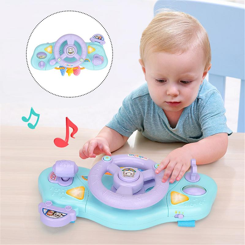 Baby Instruments Simulation Steering Wheel Musical Handbell With Light Developing Educational Toys For Children Birthday gifts