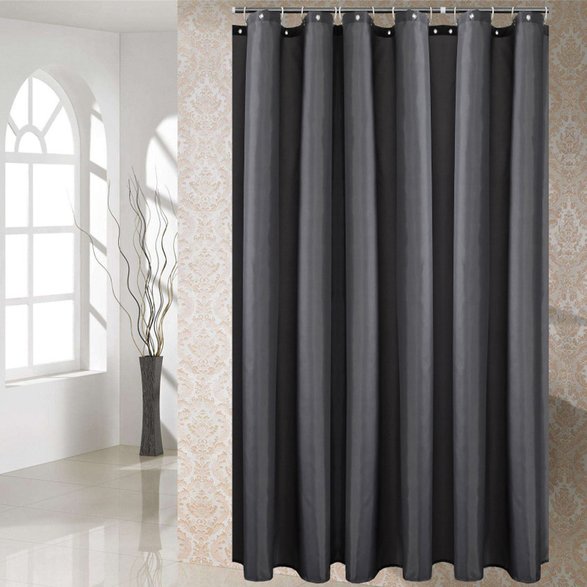 37 dark grey shower curtain solid color waterproof bath curtains bathroom for bathtub bathing cover extra large wide 12pcs hooks