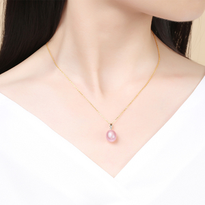 Image 2 - DAIMI 18K Gold Pearl Pendant 9 10mm High Quality Freshwater Pearl Pendant Necklace Brand Jewelry Free Silver Chain