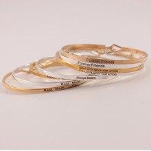 10pcs Silver Gold Copper Bangles Positive Inspirational Bracelet Engraved Quotes Mantra Bracelet & Cuff Bangle for Women все цены