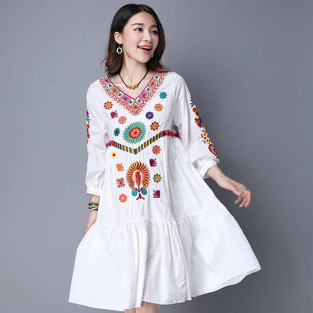 c5f55cca1f2cf Hot Sale Vintage 70s Mexican Boho Hippie Floral Embroidered Ethnic Loose  White Long Chic Women Dress Free Shipping