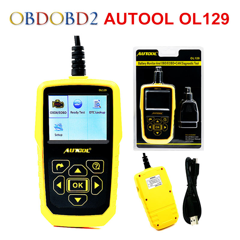 AUTOOL OL129 Battery Monitor OBDII EOBD Diagnostic Scanner Automotive Scanner Engine Error Diagnostic Tool Free Ship autolink al519 obdii eobd scanner supports all 10 modes of obdii test for a complete diagnosis