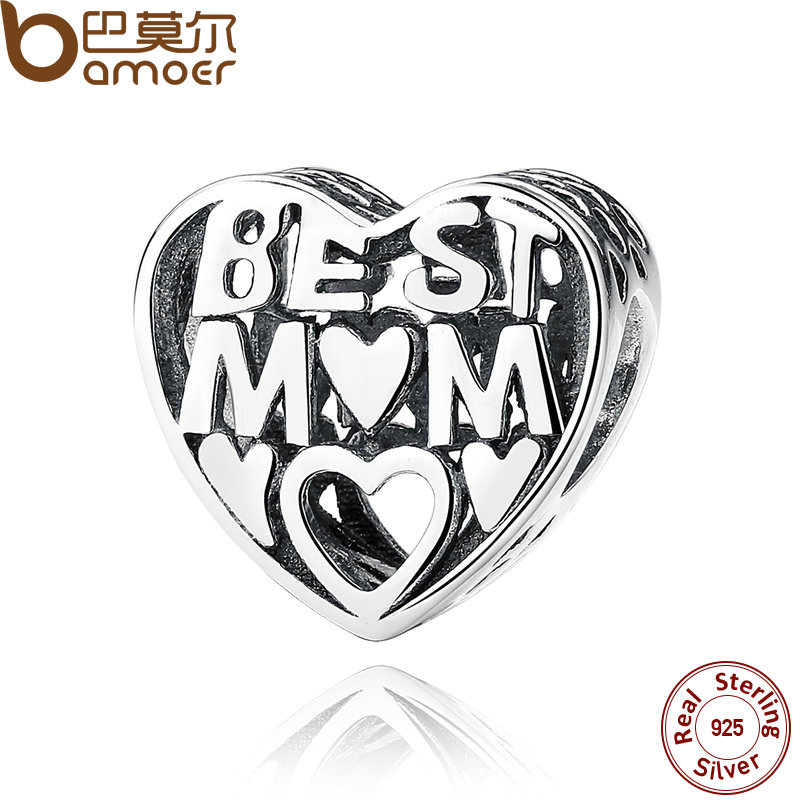 BAMOER Mother Gift 925 Sterling Silver Jewelry BEST MOTHER CHARM Charms for Bracelet Women Accessories Fine