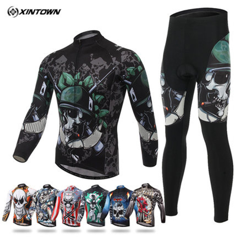 Xintown Winter Long Sleeve Cycling Jersey Sets Sport Bicycle Cycling Clothing Breathable mtb Bike Jersey ropa invierno ciclismo men thermal long sleeve cycling sets cycling jackets outdoor warm sport bicycle bike jersey clothes ropa ciclismo 4 size