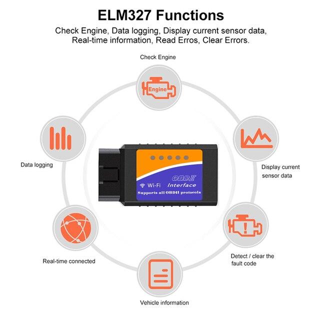 Universele OBD2 WIFI ELM327 V 1.5 Scanner voor Android/IOS Auto OBDII Scan Tool OBD 2 ODB II ELM327 v1.5 WIFI ODB2 Auto Diagnostische