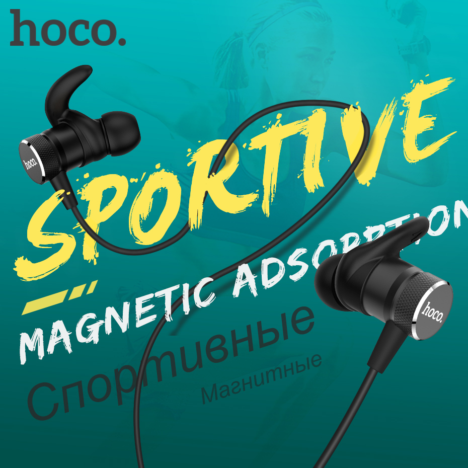Original HOCO Magnetic Bluetooth Earphones Wireless Headset with Mic for iPhone Xiaomi Stereo In Ear Hook Earbuds Sports Running