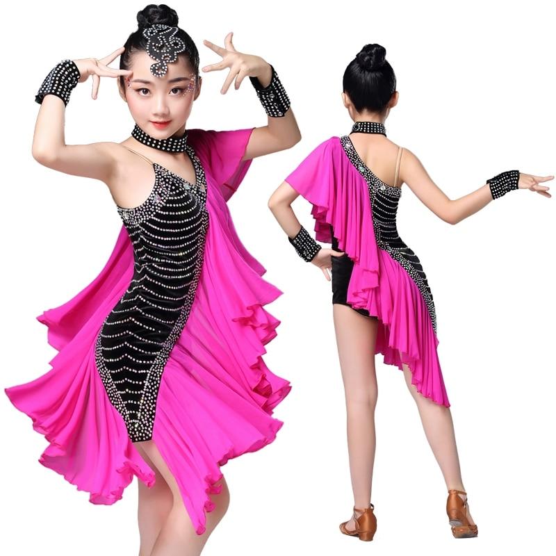 New Children Latin Dance Competition Performance Costumes Kids Diamond Fishtail Dress Flamengo Tango Dance Salsa Dress For Girls