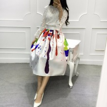 New 2016 Summer Elegant Fashion Graffiti Print Skirt Women High Waist White Long Midi Skirt Casual Women Holiday Pleated Skirt