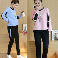 Pregnant Women In Spring And Autumn Sports Suit Casual Cartoon Maternity Dress