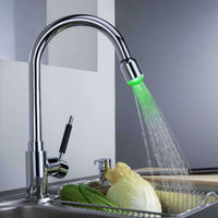 LED Kitchen Faucet Pull Out Kitchen Sink Faucet Swivel Spout Mixer Tap Water Power LED Lights