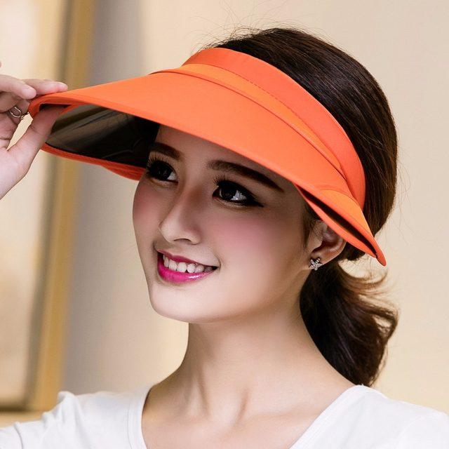 Visor2017 nuevo visera retráctil hembra verano sol sombrero superior vacío  Riding UV sombrero de sol mujer sombrero de playa parasol 8a52e769a79