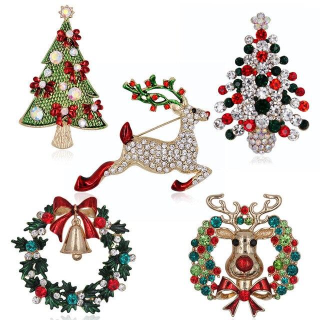 Рождественские кристаллические горный хрусталь брошь булавки металлическая эмаль Лось гирлянда Санта Клаус сани унисекс праздник модные украшения подарок