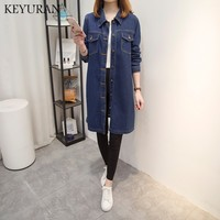 Boyfriend Women Plus Size 5XL Jeans Jackets Coat 2018 New Spring Autumn Female Casual Long Denim Coat Outerwear Casaco Femme