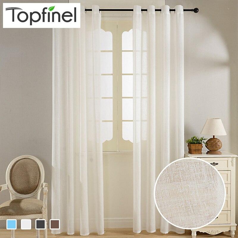 Topfinel Solid Faux Lino Tende Trasparenti per Soggiorno Cucina ...
