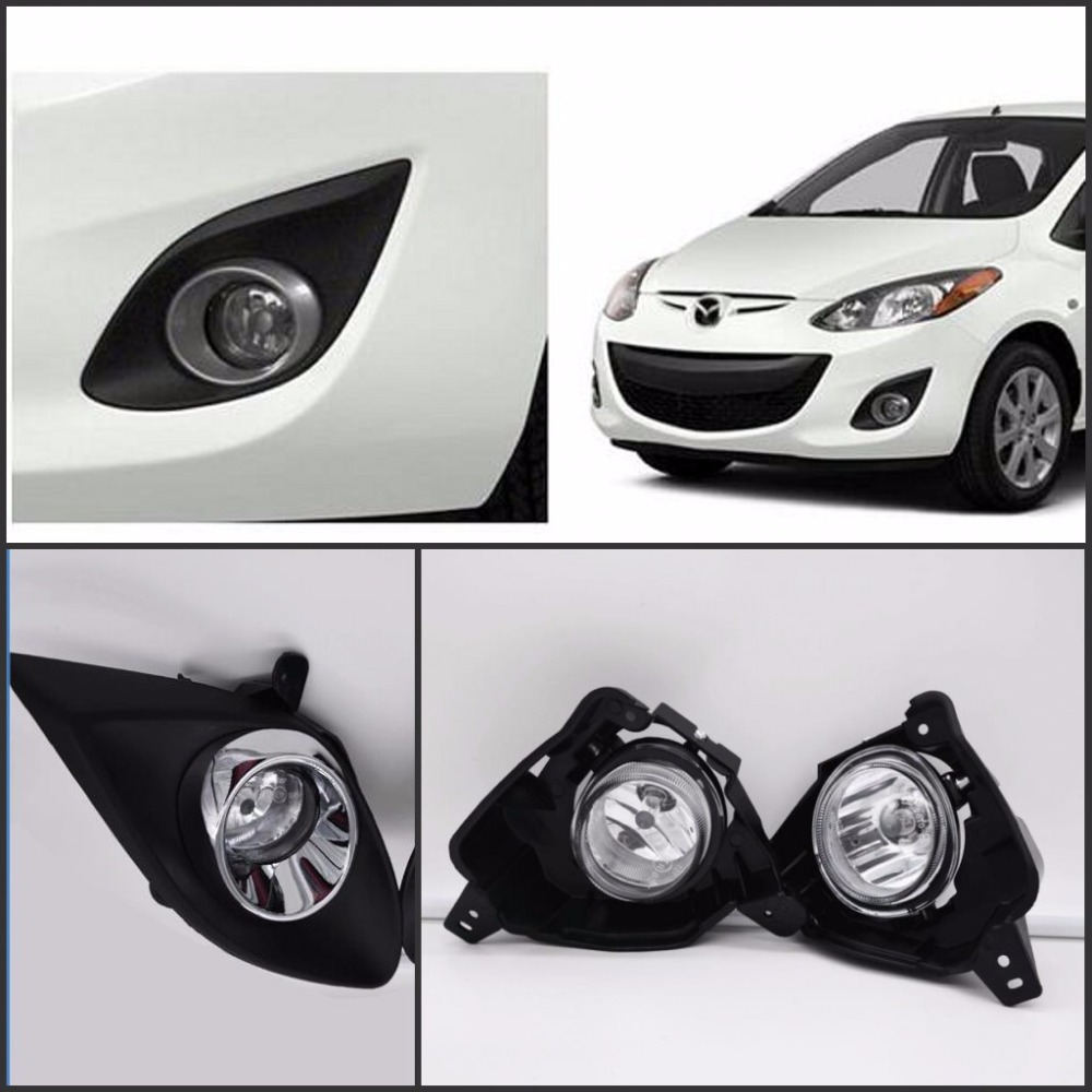 JanDeNing Car Fog Lights for MAZDA 2 M2 2010 Clear Halogen bulbs: H11 Front Fog Lights Bumper Lamps Kit for opel astra h gtc 2005 15 h11 wiring harness sockets wire connector switch 2 fog lights drl front bumper 5d lens led lamp